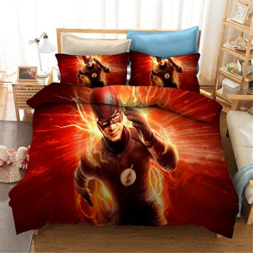 Ntioyg Anime Superhero Flash Bedding Set Cartoon Pattern Print Bedding Pattern Duvet Cover Sets 2PCS(No Comforter Include) for Kids