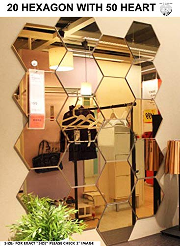 Bikri Kendra Hexagon 20 Golden Mirror - 3D Acrylic Mirror Wall Stickers for Home & Office