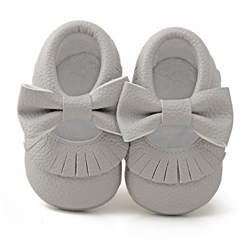Delebao Infant Toddler Baby Soft Sole Tassel Bowknot Moccasinss Crib Shoes (0-6 Months, Grey)