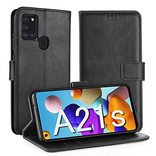 Simpeak Hülle Kompatibel mit Samsung Galaxy A21s [6,5 Zoll], Handyhülle Kompatibel für Samsung A21s Leder Flipcase [Kartensteckplätze] [Stand Feature] [Magnetic Closure Snap] - Schwarz