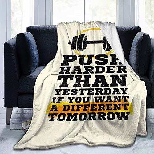 Manta mullida, frase deportiva más dura, mensaje positivo, pantalla grungy con mancuerna, manta ultra suave, para dormitorio, cama, TV, cama de 50 x 40 pulgadas