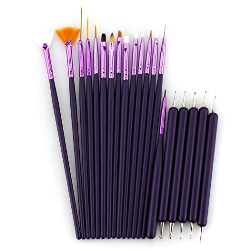 Glow 20 Piece Kit de pinceaux et d'outils de pointage pour ongles - Qualité Premium - Parfait pour les débutants et les professionnels - Couleur violette