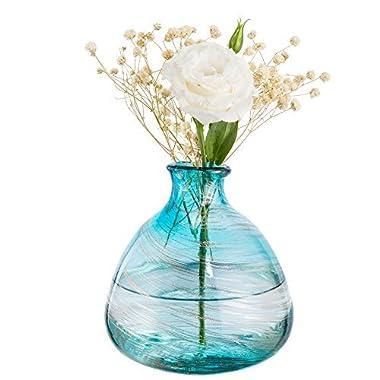 Mkono Blue Bud Vase Glass Wedding Flower Vase Hand Blown Art for Home Decor
