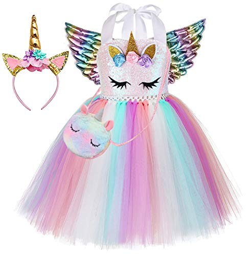 Tutu Dreams Unicorn Dress for Girls with Unicorn Bag Headband Wings Birthday Party Gifts (Sequin Pink, 1-2T)