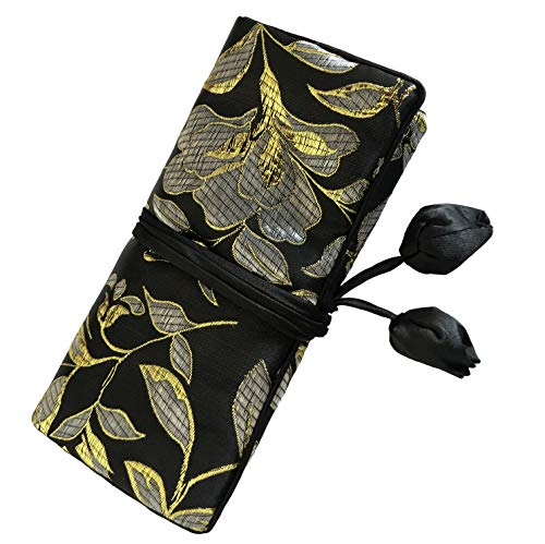 Wei Long@Jewelry Roll, Travel Jewelry Roll Bag,Silk Embroidery Brocade Jewelry Organizer Case with Tie Close, (Golden Flower, Black)