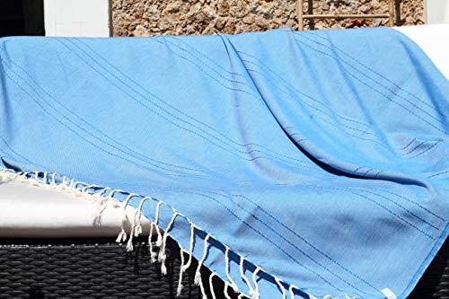 Les Demoiselles de Túnez, gran fouta XXL, 150 x 250 cm, color azul turquesa y toque de hilo de abeja – Toalla de playa XXL – 100% algodón suave