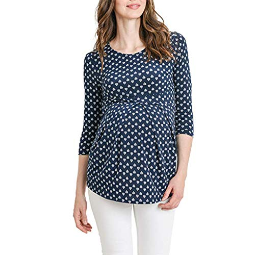 Battnot Damen umstandsmode bluse sommer 3/4 ärmeln, rundhalsausschnitt, oben die dunkelblau