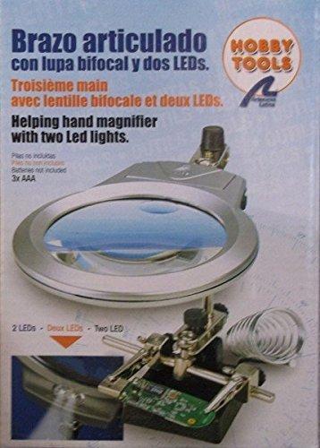 Lupa articulada con LED para trabajos modelismo, con soporte para soldador desmontable. 1227022-1 Artesanía Latina