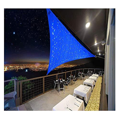 Dreieck Sonnensegel Mit LED Licht, Wasserdicht Schatten Sonnenschutz Baldachin Mit UV Schutz 95% Perfekt Für Außenterrassen Balkon Schwimmbad Kleiner Garten, Blau,4X4X5.7m