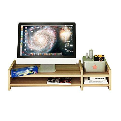 GOHHK Estante flotante montado en la pared, soporte de escritorio de oficina, base de madera para monitor de computadora, 2 capas, tamaño 69 x 20 x 14,1 cm (color: 1 #)