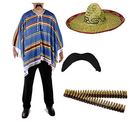 FashioN HuB Conjunto de accesorios de disfraz mexicano para adultos, sombrero falso, poncho, bigote, talla nica, 4 unidades