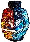 Hombres 3D Print Animal Fire and Ice Wolf Camisa de Entrenamiento con Capucha Otoño Invierno Cálidos Jerseys con Capucha