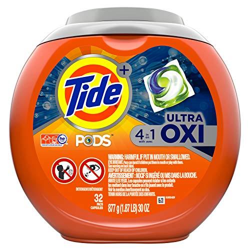 Tide Pods Ultra Oxi Detergente líquido Pacs, 32 cápsulas