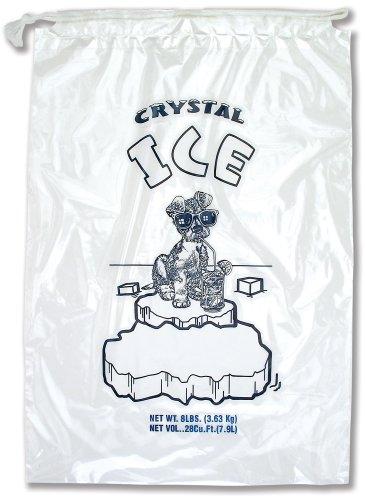Interplas PB-ICE-8ADS 8 lbs Crystal Ice Icebags with Drawstring, 18' Length, 11' Width (Case of 500)