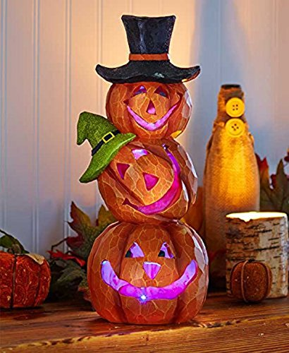 Jack O Lantern Glowing Lighted Stacked Pumpkin