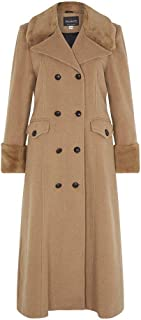 De La Creme - Grey Women`s Winter Wool Cashmere Military Coat Faux Fur Collar