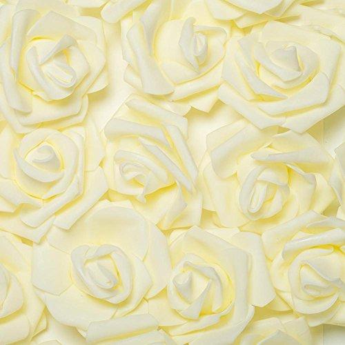YUANMAO 50/100 rosas artificiales de espuma para boda, novia, fiesta, decoración, crema, 100 unidades