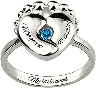 Personalized Engraved Baby Feet Birthstone Ring Sterling Silver 925 Ring for New Mom