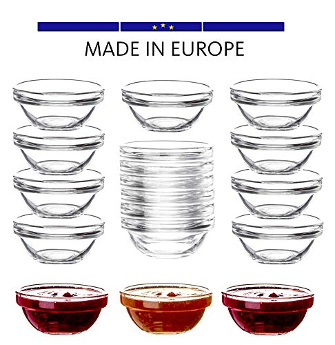 18x Dipschalen aus gehärtetem Glas - Für Dip, Marmelade, Konfitüre - Stapelbar - Für Spülmaschine & Mikrowelle - Mini Soßen-Schalen für Tapas, Ketchup & Buffet