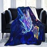 Manta de forro polar ultra suave, colorido, animales, mar, pez azul, medusas, acuario, biología, arrecife, decoración del hogar, manta cálida para sofá o cama, 200 x 60 pulgadas