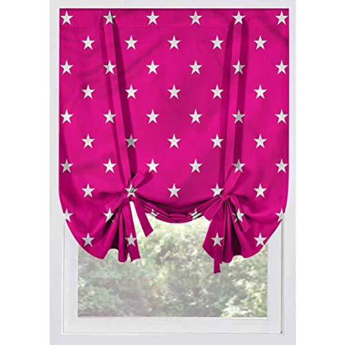 LCGGDB Hot Pink Blackout Small Window Curtain,White Stars Girlish Thermal Insulated Blackout Tie Up Panel, Rod Pocket Home Fashion Balloon Shade for Small Window,Bedroom,39'x63'