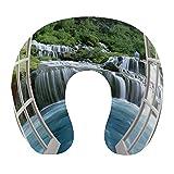 CIKYOWAY Almohada Viaje,Majestuoso Paisaje de Cascada a través de una Ventana Paraíso Secreto...