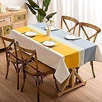 テーブルクロス長方形テーブルカバー装飾のためのキッチンダイニングパーティー長方形長方形のテーブルカバーするためにキッチンダイニングストライプ卓上装飾、2色 (Color : Yellow+gray, Size : 100*140cm)