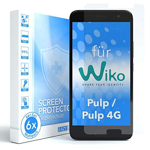 EAZY CASE 6X Bildschirmschutzfolie für WIKO Pulp / 4G, nur 0,05 mm dick I Bildschirmschutz, Schutzfolie, Bildschirmfolie, Transparent/Kristallklar