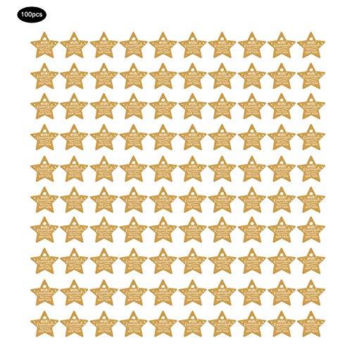 Okuyonic Fácil de Colgar Etiqueta Colgante Etiquetas de Regalo Etiqueta de Regalo de Boda Trabajo Hecho a Mano Decoración Colgante(Yellow, Five-Pointed Star)