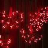 Luces de Cortina de San Valentín, 160 LED Rojo en Forma de Corazón Cadena de Luces de Fuegos Artificiales, Luces de Hadas Enchufe USB de Ventana para Decoración de Fiesta Dormitorio Boda