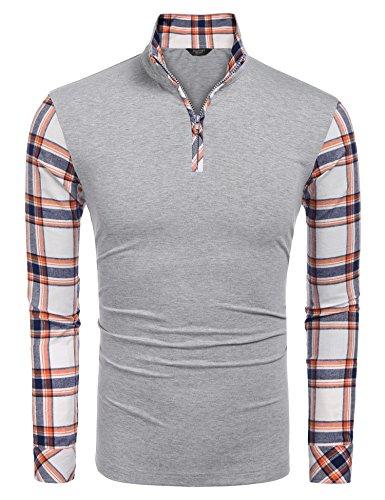 Coofandy Men's Casual Long Sleeve Plaid Shirt Zipper Polo Shirts