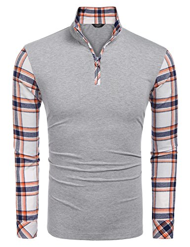 Coofandy Men's Casual Long Sleeve Plaid Shirt Zipper Polo Shirts