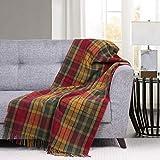 Cosy Weave Wool Knee Blanket Scottish Tartan Plaid Thermal Throw Knee Blanket Made of Merino Wool 30 x 69 Inches, Autumn Buchanan