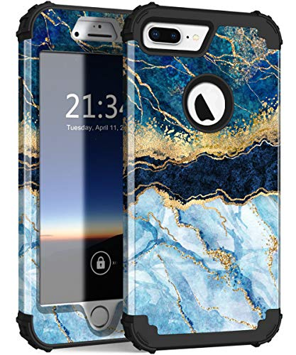 Hocase for iPhone 8 Plus Case, iPhone 7 Plus Case, Heavy Duty Shockproof Protection Hard Plastic+Silicone Rubber Hybrid Protective Case for iPhone 8 Plus/iPhone 7 Plus - Blue Marble