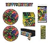 Teenage Mutant Ninja Turtles TMNT Birthday Party Bundle Pack Includes Dessert Cake Plates, Napkins, Table Cover, Happy Birthday Banner - Serves 16