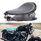 Crocodile Leather Motorcycle Bobber Solo Seat Spring Base Plate Bracket Kit For Harley Sportster XL 883 1200 48 (Black-Crocodile Leather)