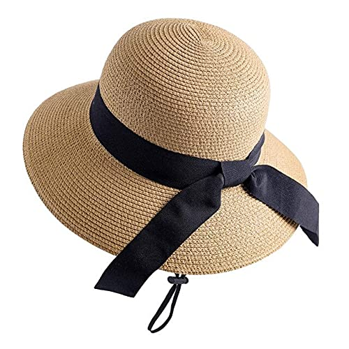 XHQ Sombrero de verano para las mujeres Beach Sun Hat Sombrero de paja Sombrero Fedora Gorra de ala ancha Protección UV Gorra de verano para mujer-plata, China, M