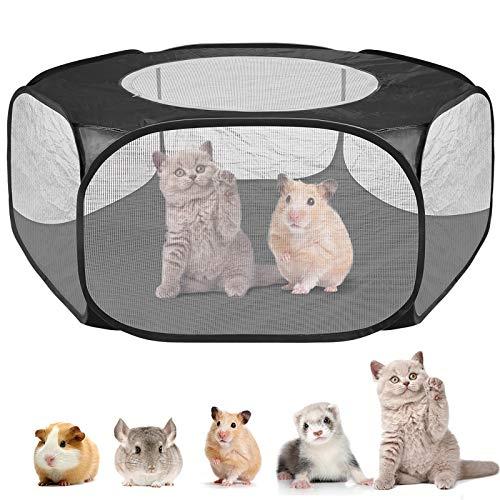 Petyoung Upgrade Kleintiere Käfig Zelt mit Deckel Atmungsaktiver Und Faltbarer Laufstall für Haustiere Pop Open Outdoor/Indoor-Übungszaun für Meerschweinchen Kaninchen Chinchillas
