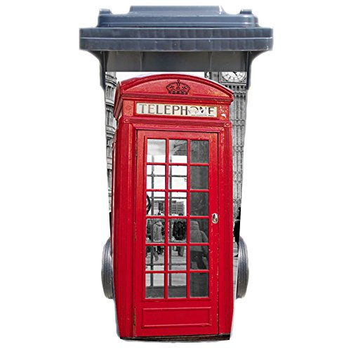 Aufkleber für Mülltonne Mülltonnenaufkleber - Motiv London Telefonzelle