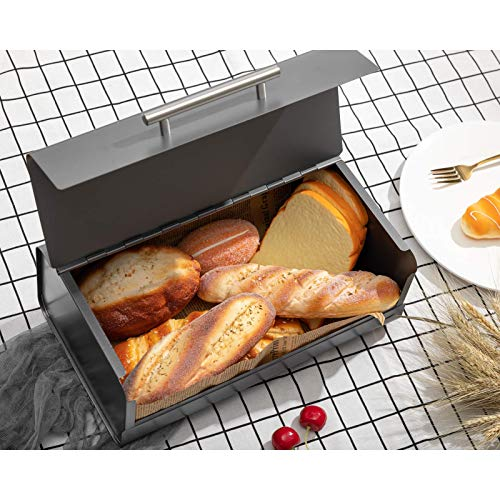 PARANTA Iron Bread Box Large-Capacity Storage Cabinet Used In The Kitchen Counter Equipped With Stainless Steel Easy-Open Lid Convenient For Kitchen Counter Storage Bread Box Bracket Gray