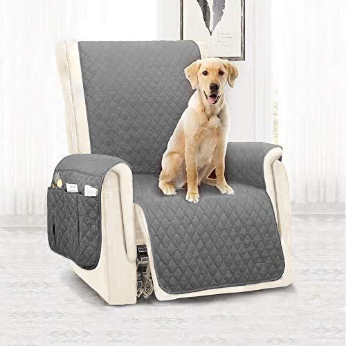 Keyohome - Funda para sillón relax reclinable universal, 1 plaza, acolchada, impermeable, antideslizante, antitivegecativa para protección del sofá con banda elástica, 180 x 53 cm (gris)