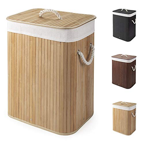 Virklyee Cesto para la Colada de Bambú Cesto para Ropa Bambú 60L Cestos para la Colada con Asas Cesta para Ropa Pelegable Saco extraíble para la Ropa Sucia (Color Madera)