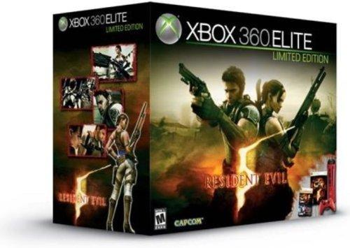 Console Xbox 360 Elite Rouge (120 Go) + Resident Evil 5 + Manette sans fil rouge + un casque-micro noir + thème exclusif de Resident Evil 5 + le jeu Super Street Fighter 2 turbo HD Remix