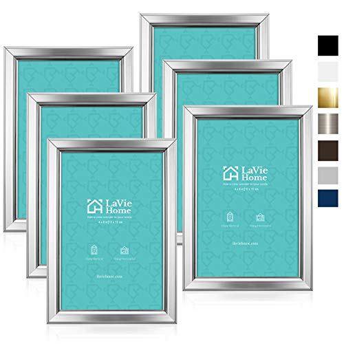 LaVie Home 4x6 Picture Frames (6 Pack, Silver) Simple Designed Photo Frame with High Definition Glass for Wall Mount & Table Top Display, Set of 6 Classic Collection
