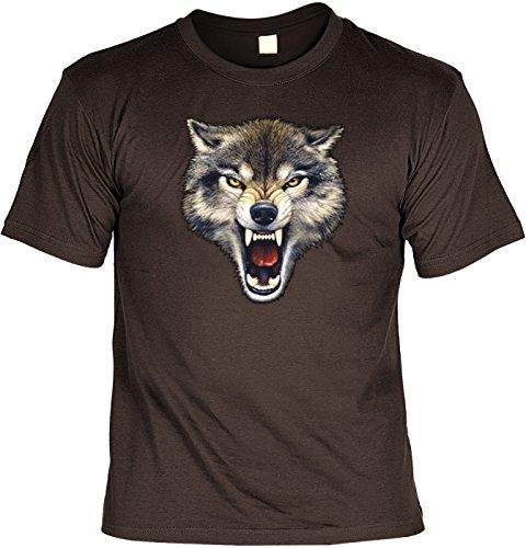 USA-Shirt/Biker-Shirt/T-Shirt mit lässigem Indianer-Aufdruck: Wolfsgebiss - tolles Wolf-Motiv