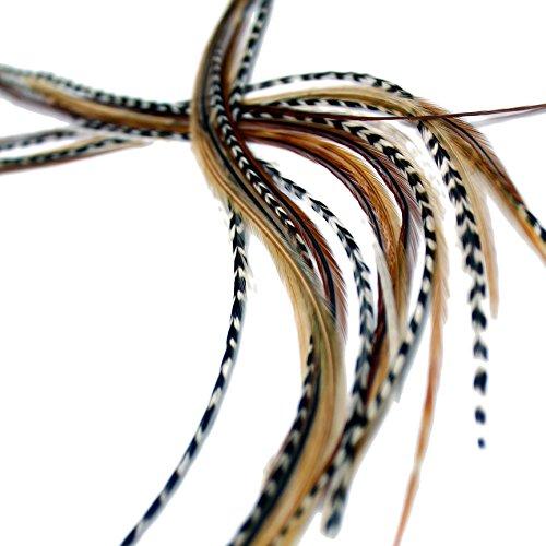 Lot de 7 extensions de cheveux en plumes véritables XXL longues de 28 à 33 cm avec anneaux et boucle (mélange naturels)