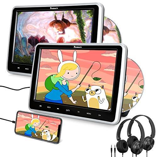 Naviskauto Lettore dvd da auto poggiatesta per bambini, con due cuffie, due schermi da 10.1 pollici, supporta HDMI USB SD Region free AV-in e out, cavo AUX, 18 mesi di garanzia