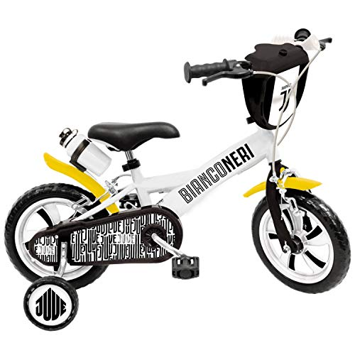 Mondo Toys - Bici Mod. F.C JUVENTUS  per bambino / bambina - rotelle e freno anteriore / posteriore - colore bianco / nero