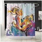 TYOP Alfombra de baño Kit, Pareja Africana Impreso de alfombras, Cuatro Piezas de baño Absorbente Mat, poliéster Baño Kit Carpa (Color : B)