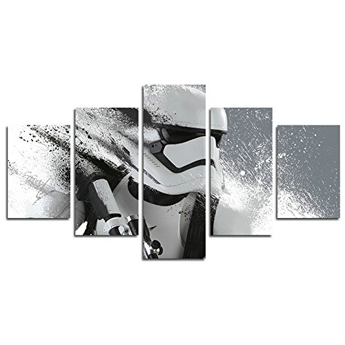 YspgArt66 Print Canvas, 5-Teilig Stormtrooper Star Wars Film Leinwand Art Wand Gemälde für Home Wohnzimmer Büro Trendig eingerichtet Dekoration Geschenk (ungerahmt)…